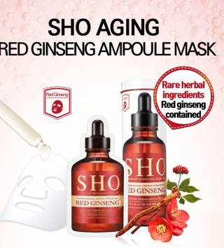 Mặt nạ hồng sâm chống lão hóa da Rodin SHO Red Ginseng Ampoule and Treatment Mask Review